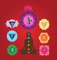 yoga set with charkas and lotus vector image vector image