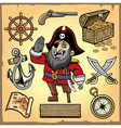 set of pirate cartoon collection vector image