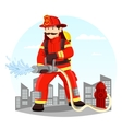 Firefighter in uniform spraying water with hose vector image