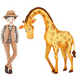 tall man and cute giraffe vector image