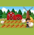 a boy at farmland vector image