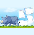 a rhinoceros on note template vector image vector image