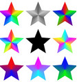 Abstract isolated gradient rainbow star set vector image vector image