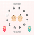 Allergens at breast feeding icons set in color vector image