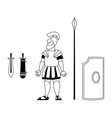 Ancient warrior BW vector image vector image