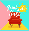 armchair colorful cartoon sale vector image vector image