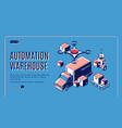 automated warehouse logistics isometric banner vector image vector image