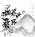 Bamboo trees and mountains hand drawn with ink vector image vector image