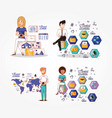 business people with social media icons vector image