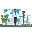 Business professional work team Map of world vector image