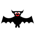 cartoon bat on white background vector image vector image
