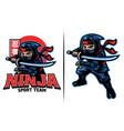 cartoon ninja warrior with katana sword vector image vector image