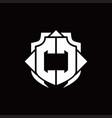 cc logo monogram with shield line and 3 arrows vector image vector image