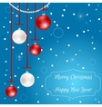 Christmas card blue with hanging red and white vector image vector image