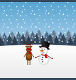 christmas reindeer and snowman in forest vector image