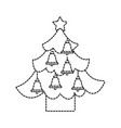 christmas tree pine star and bells decoration vector image vector image