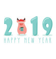 creative banner for new 2019 year with cute pig vector image