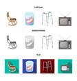 denture rocking chair walker old tvold age set vector image vector image
