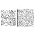 doodle music instruments set and seamless pattern vector image