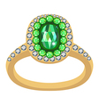 Emerald golden ring vector image vector image