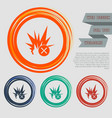explosion icon on red blue green orange vector image vector image
