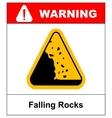 Falling rocks warning sign isymbol vector image vector image