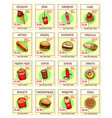 fast food snacks sketch menu price cards vector image vector image