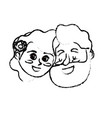 figure happy couple face with hairstyle design vector image vector image