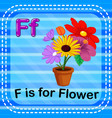 flashcard letter f is for flower vector image