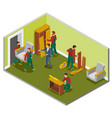 furniture delivery isometric composition vector image vector image