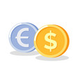 golden and silver circle money coins icon vector image vector image