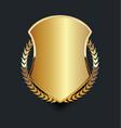 golden shield with golden laurel wreath 08 vector image vector image