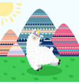 greeting card with lama unicorn and mountain vector image vector image