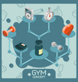 gym color isometric concept icons vector image vector image