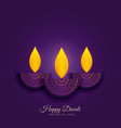 happy diwali holiday background with burning diya vector image vector image