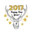 Happy new year card with hand drawn deer and vector image