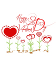 Happy valentines with heart garden vector image