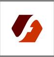 hexagon letter f negative space logo design vector image vector image