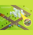 isometric infographic city navigation vector image