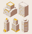 isometric outline style office city buildings vector image vector image