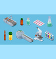 isometric pharmaceutical industry elements set vector image vector image