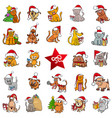 large christmas cartoons collection vector image vector image