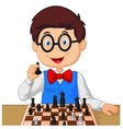 Little boy playing chess vector image