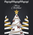 merry christmas tree with star lights and gift vector image vector image