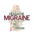 migraine text background word cloud concept vector image vector image