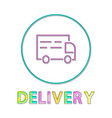 minimalist color delivery icon in lineout style vector image