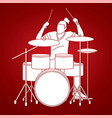 musician playing drum music band graphic vector image