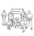 nine people in group holding tools with word vector image vector image