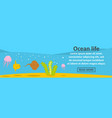 ocean life banner horizontal concept vector image vector image