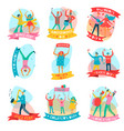 parade holiday people flat emblem set vector image vector image